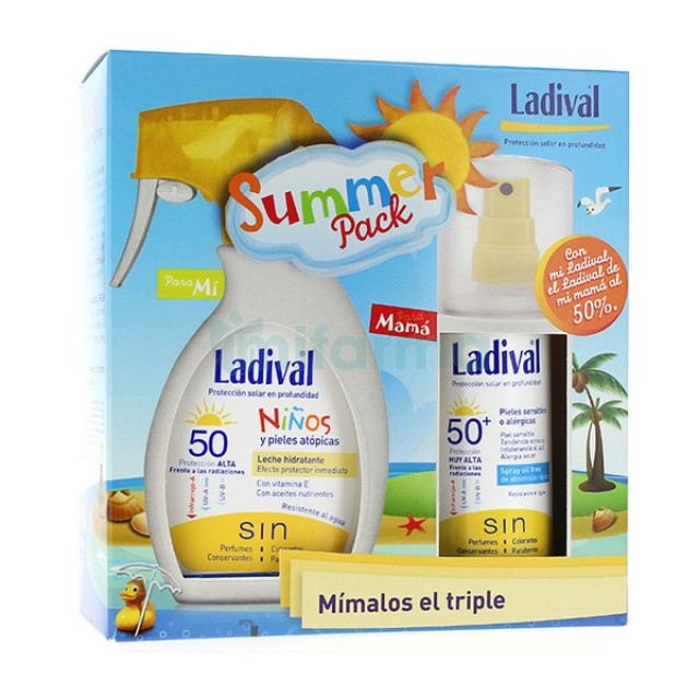 Protector solar Ladival Summer pack niños 50+ de 200ml  y adultos spray 50+ de 150ml.